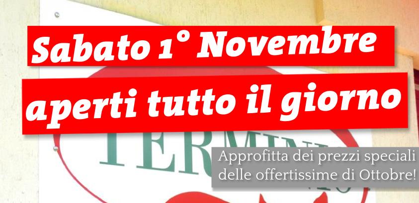 Sabato 1 novembre il Salumificio Terminio sarà aperto tutto il giorno.